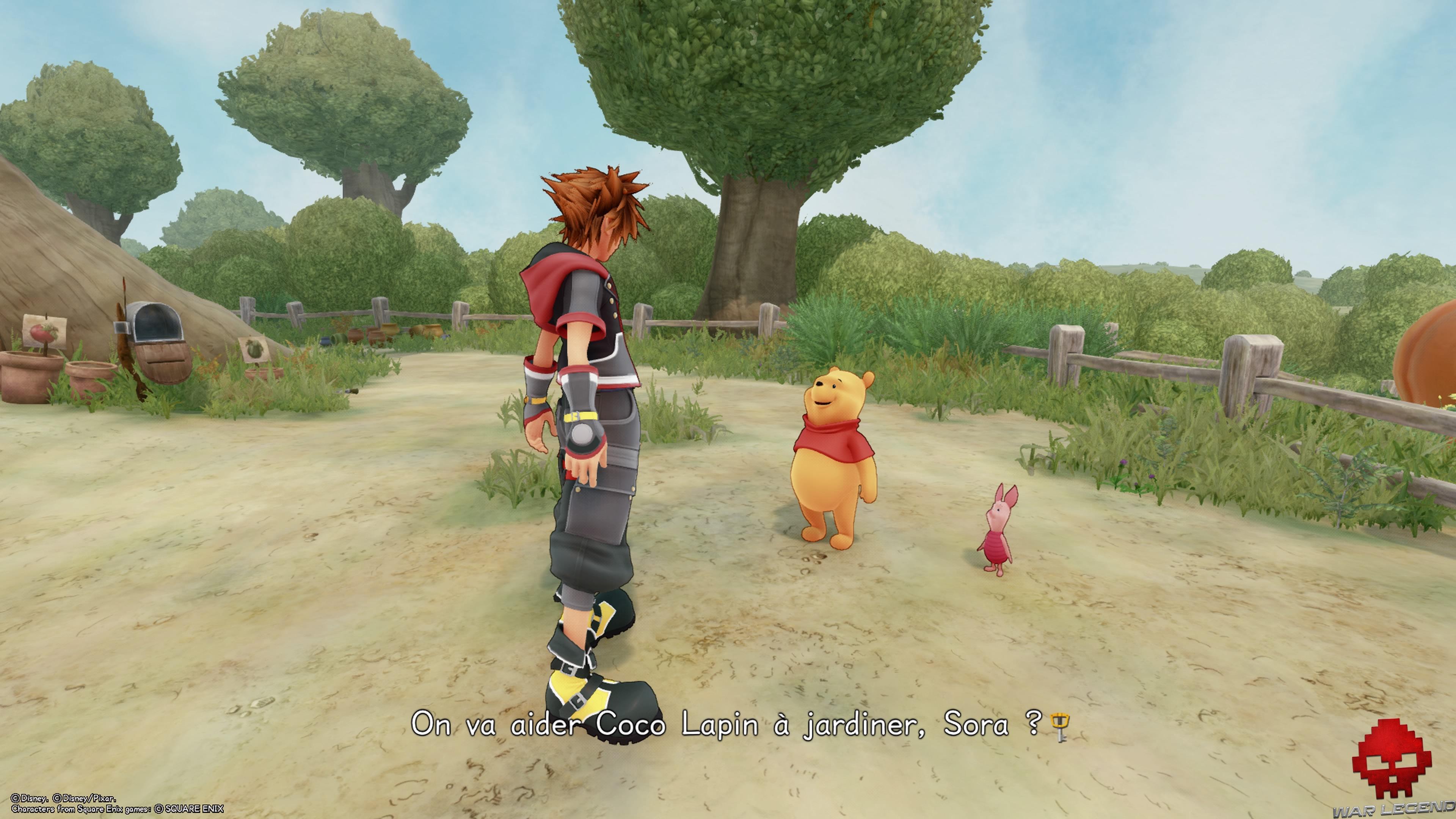 Sora en compagnie de Winnie l'ourson et Porcinet
