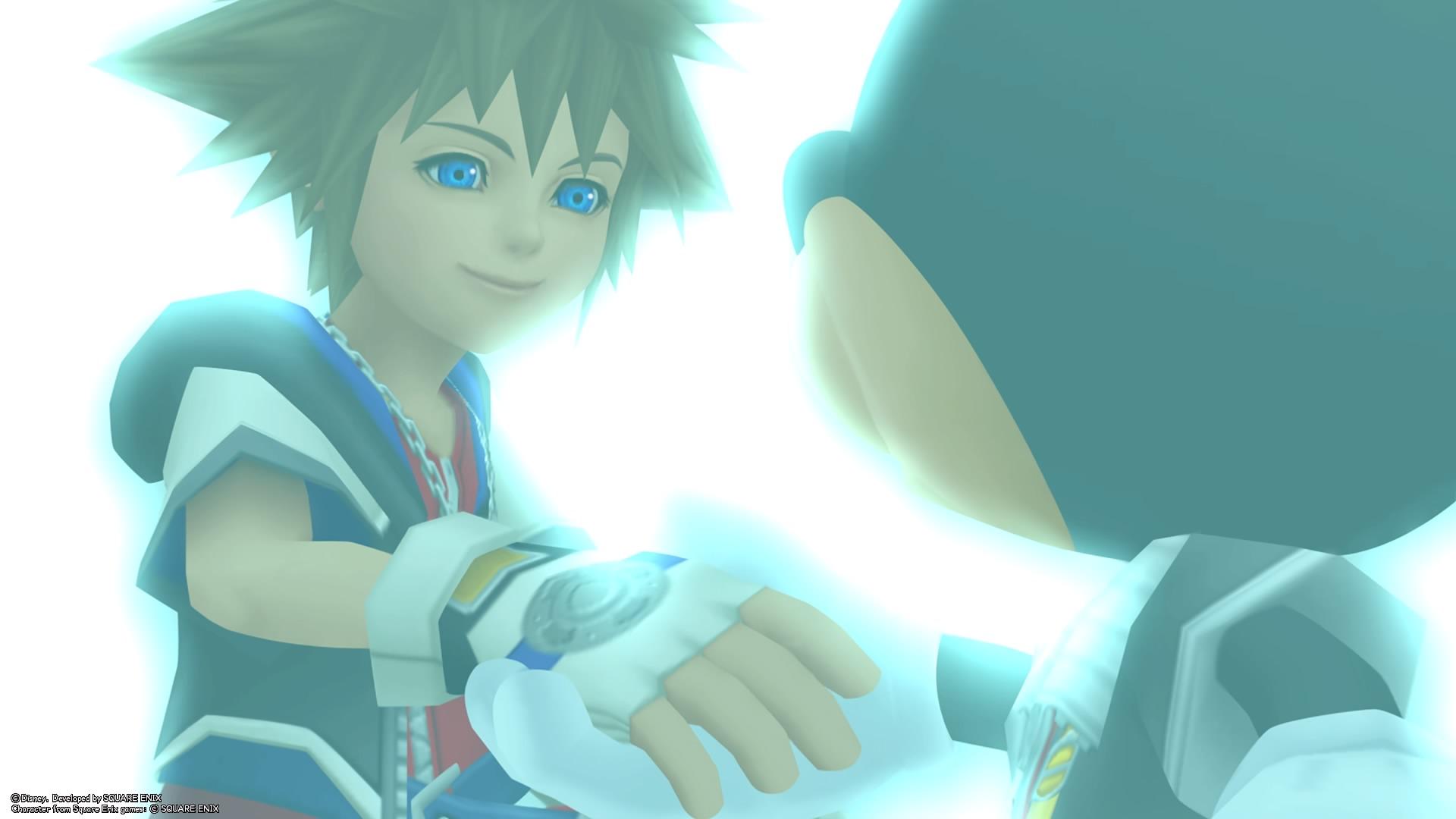 Sora virtuel et Mickey se serrant la main
