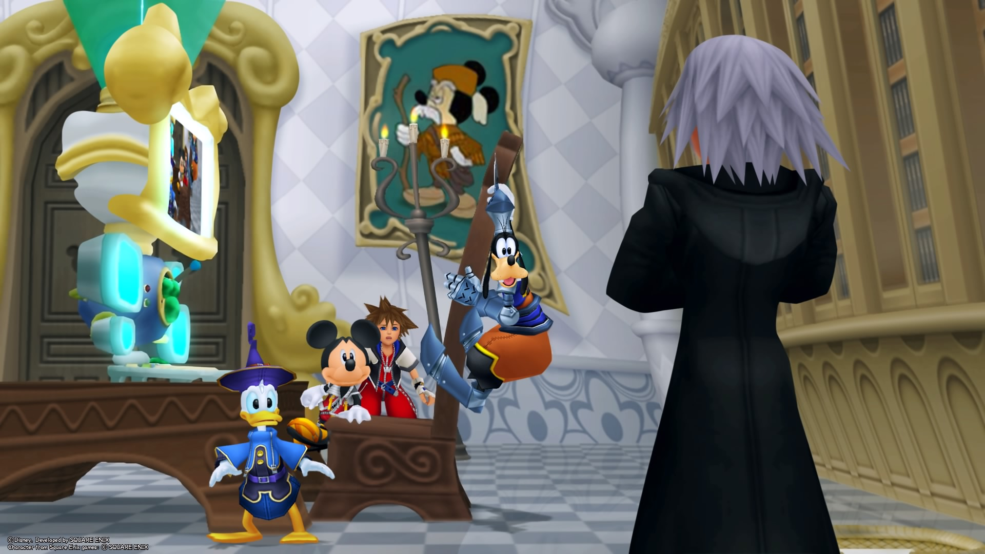 Mikcey, Donald et Dingo surpris par Riku virtuel