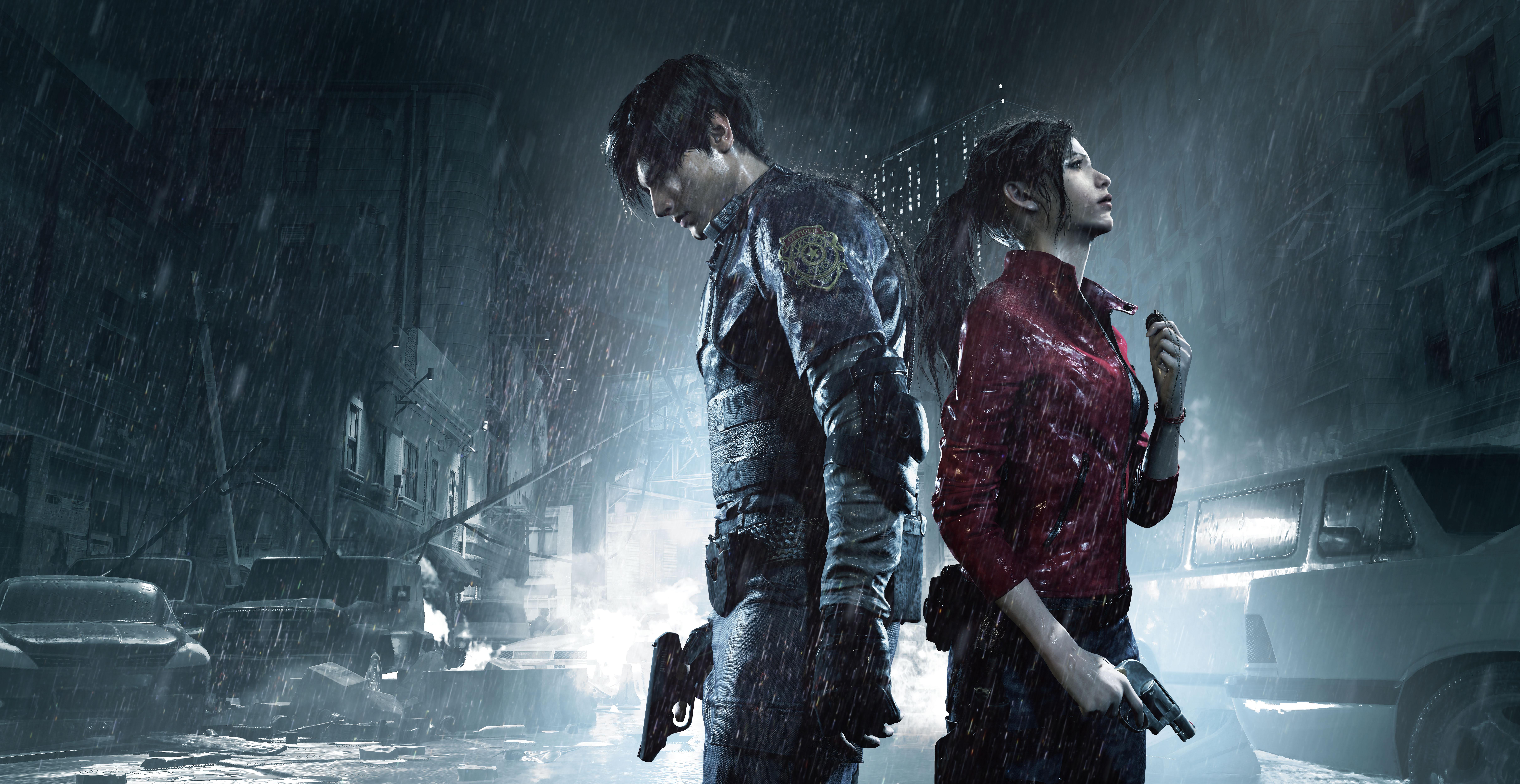 Claire Redfield et Leon S. Kennedy dos à dos sous la pluie, dans la rue Resident Evil 2 Remake