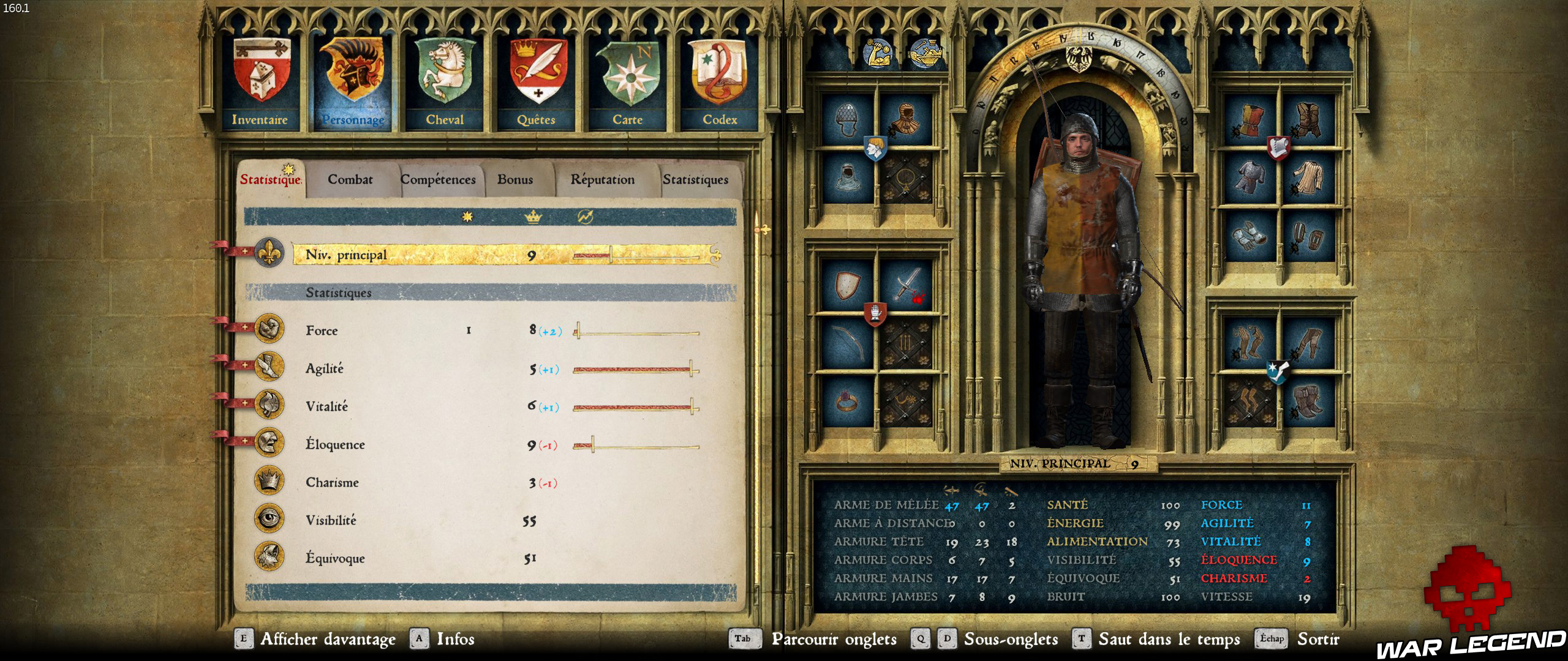 Kingdom Come Deliverance menu personnage statistique