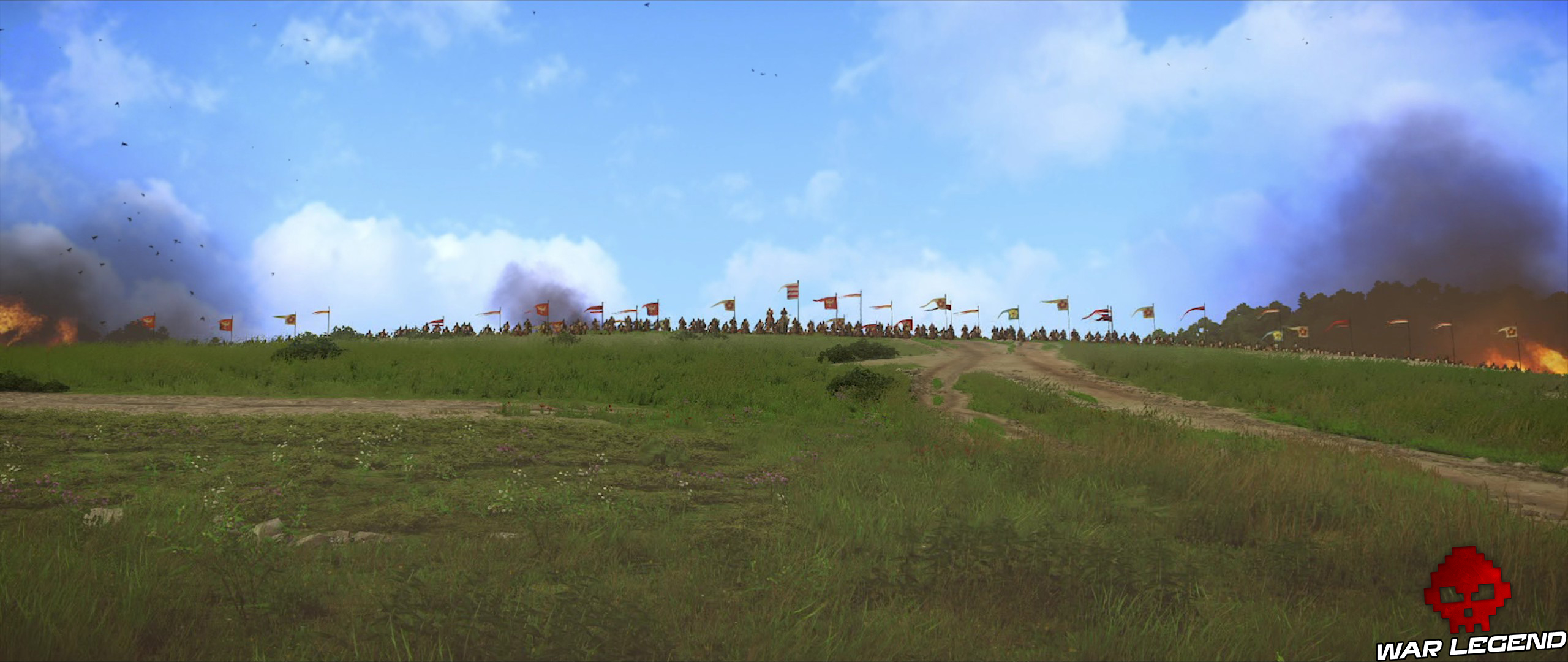 Kingdome Come Deliverance armée de Sigismond sur une colline devant Skalice