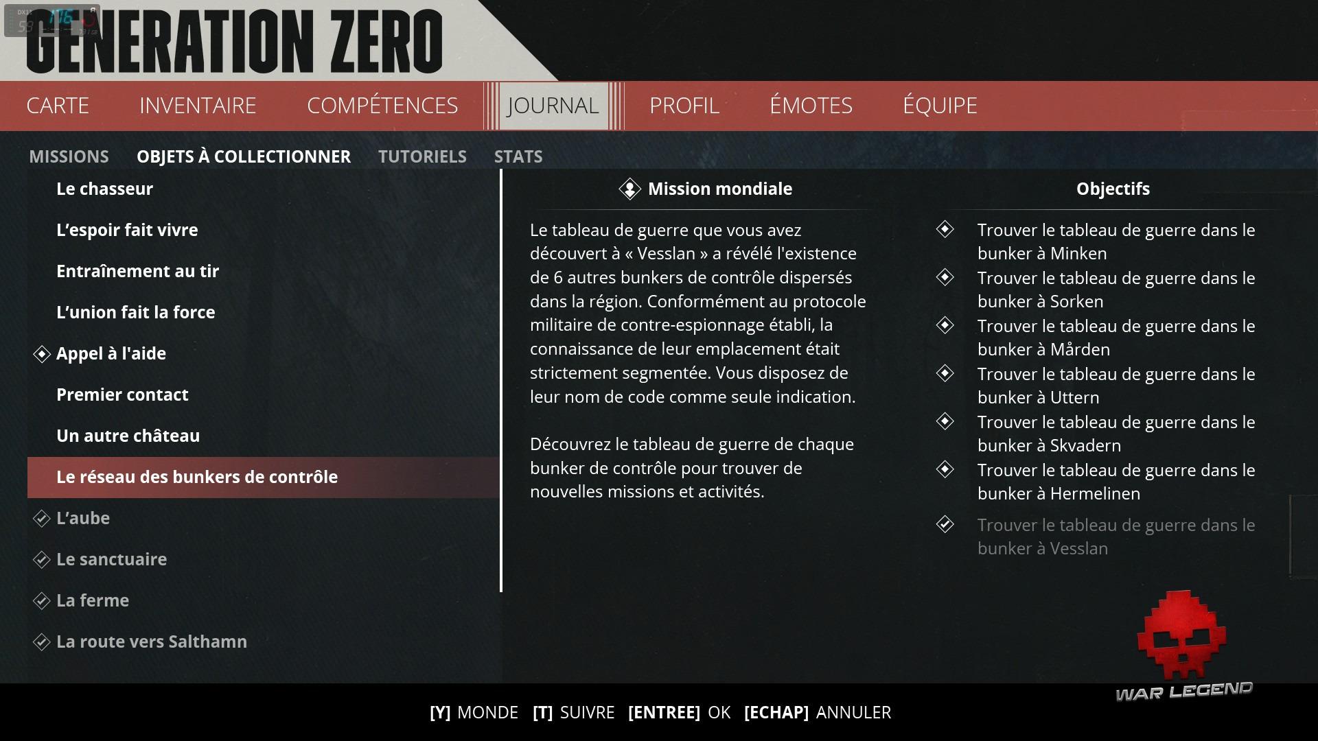 Le menu des missions