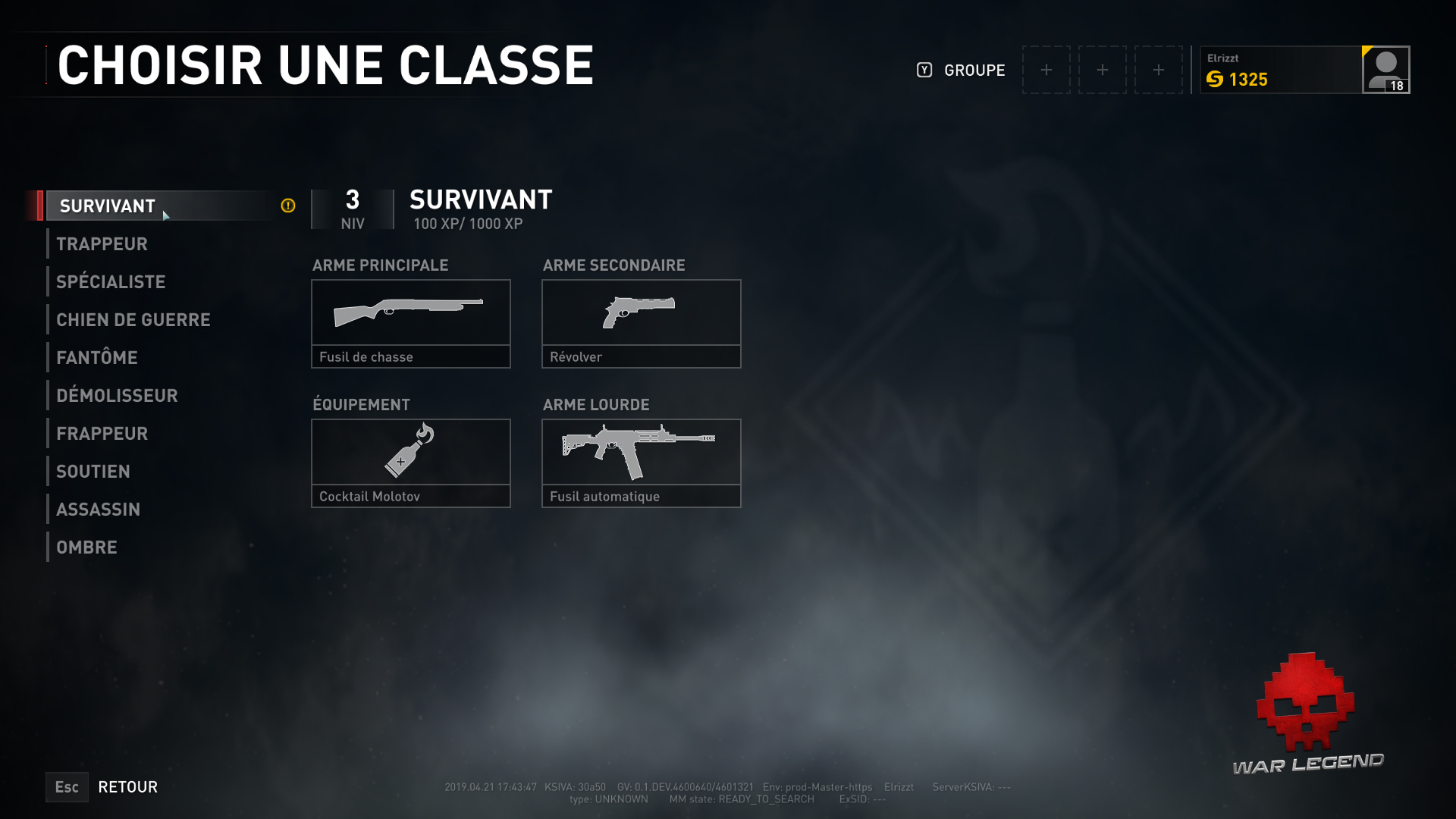 WWZ les classes PvP