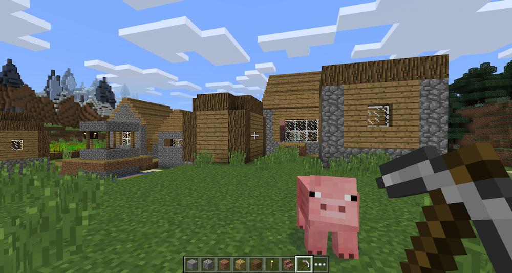 Minecraft: petit village avec cochon