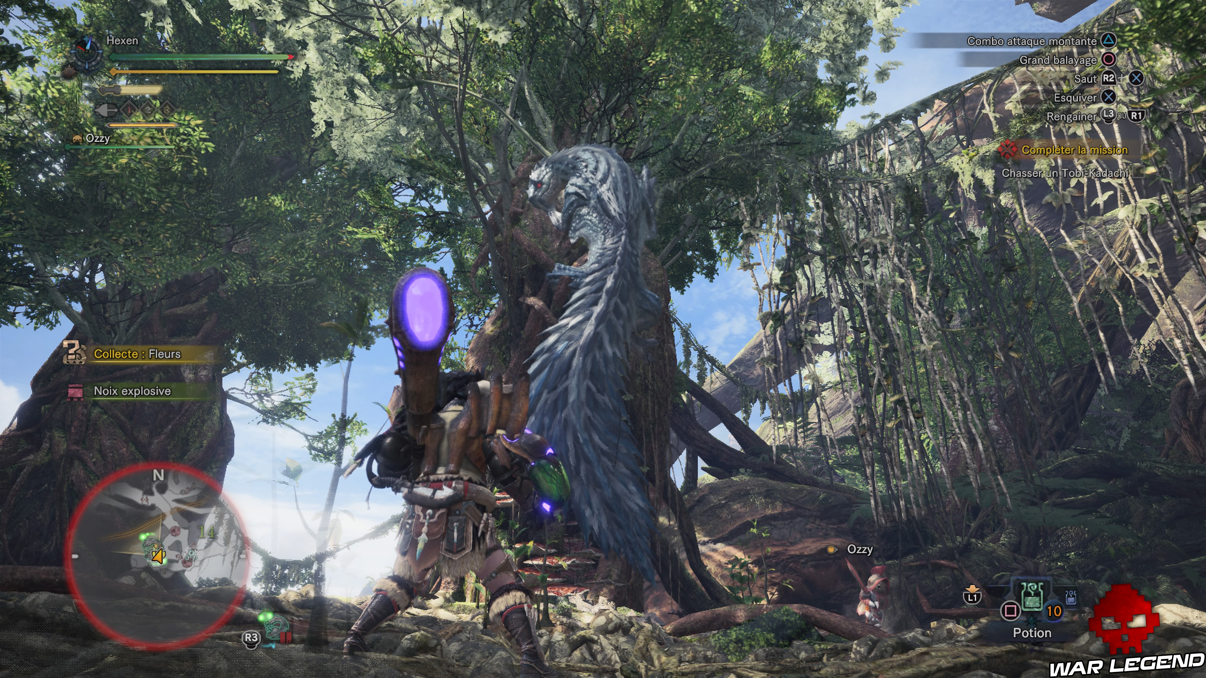 Monstre accroché à un arbre monster hunter world