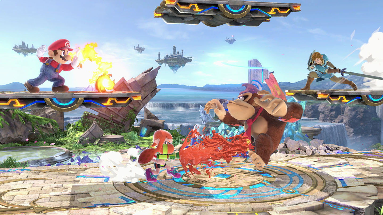 Une scène de combat entre Mario, DK, Link et Inkling girl