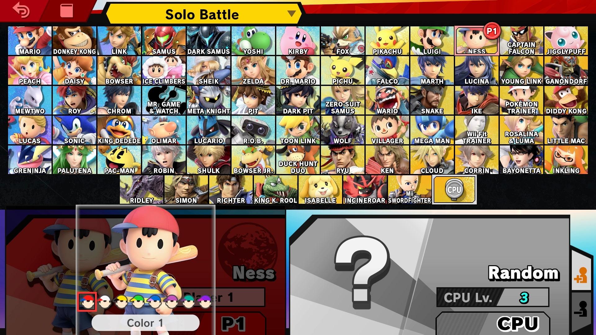 Test Super Smash Bros écran de sélection des personnages