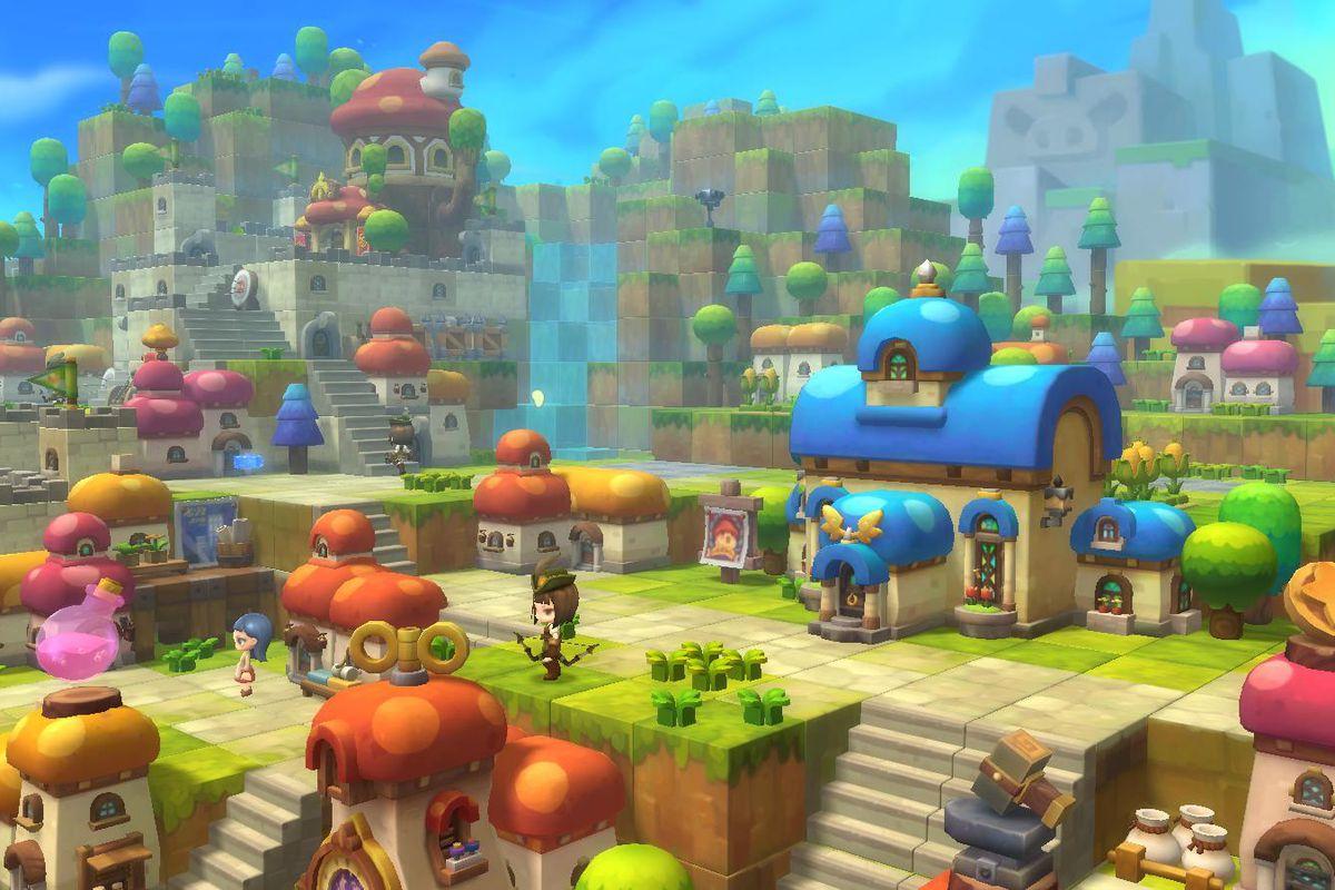 Une grande ville en cubes avec des joueurs de MapleStory 2