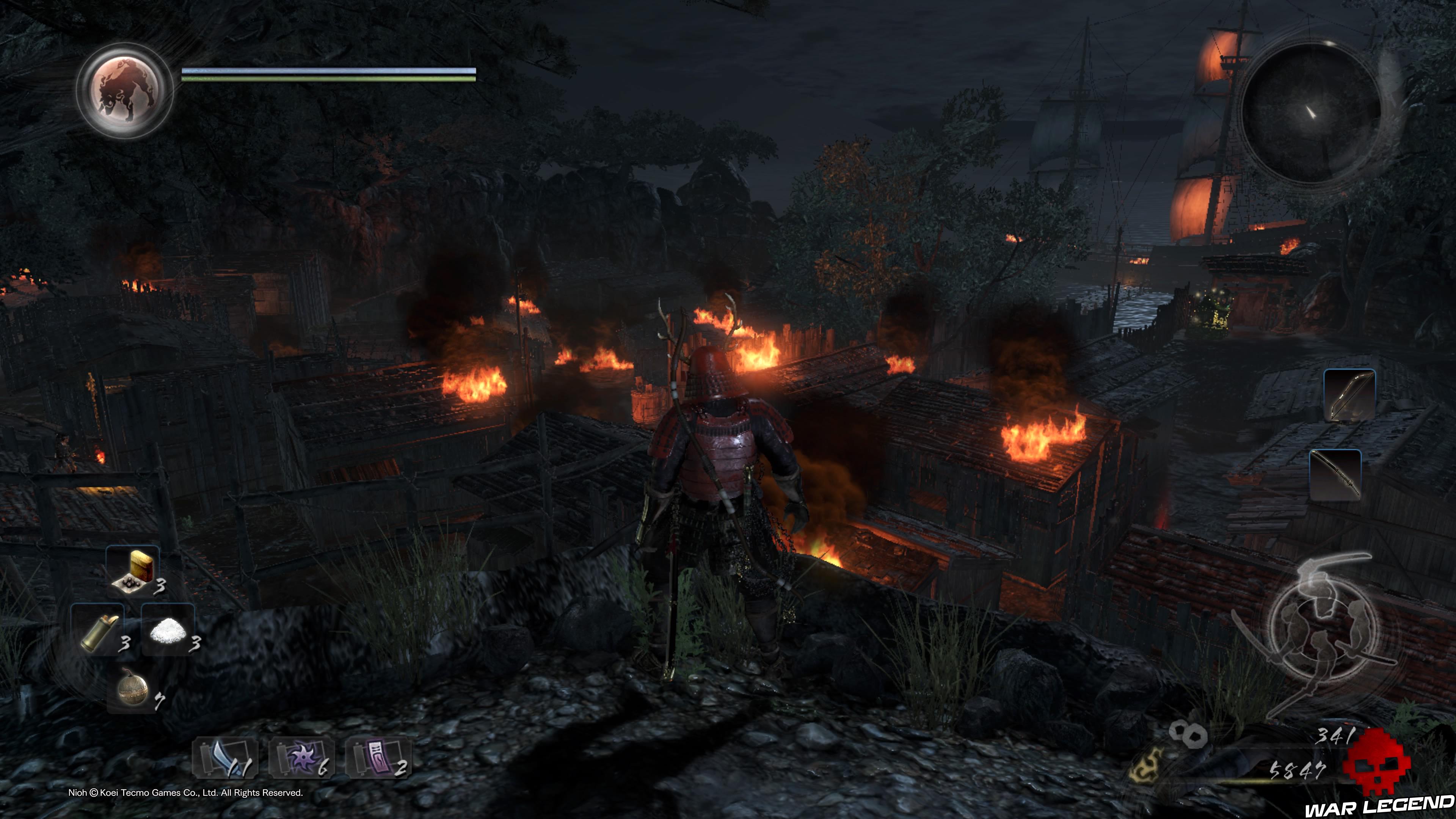 Test Nioh village en flammes