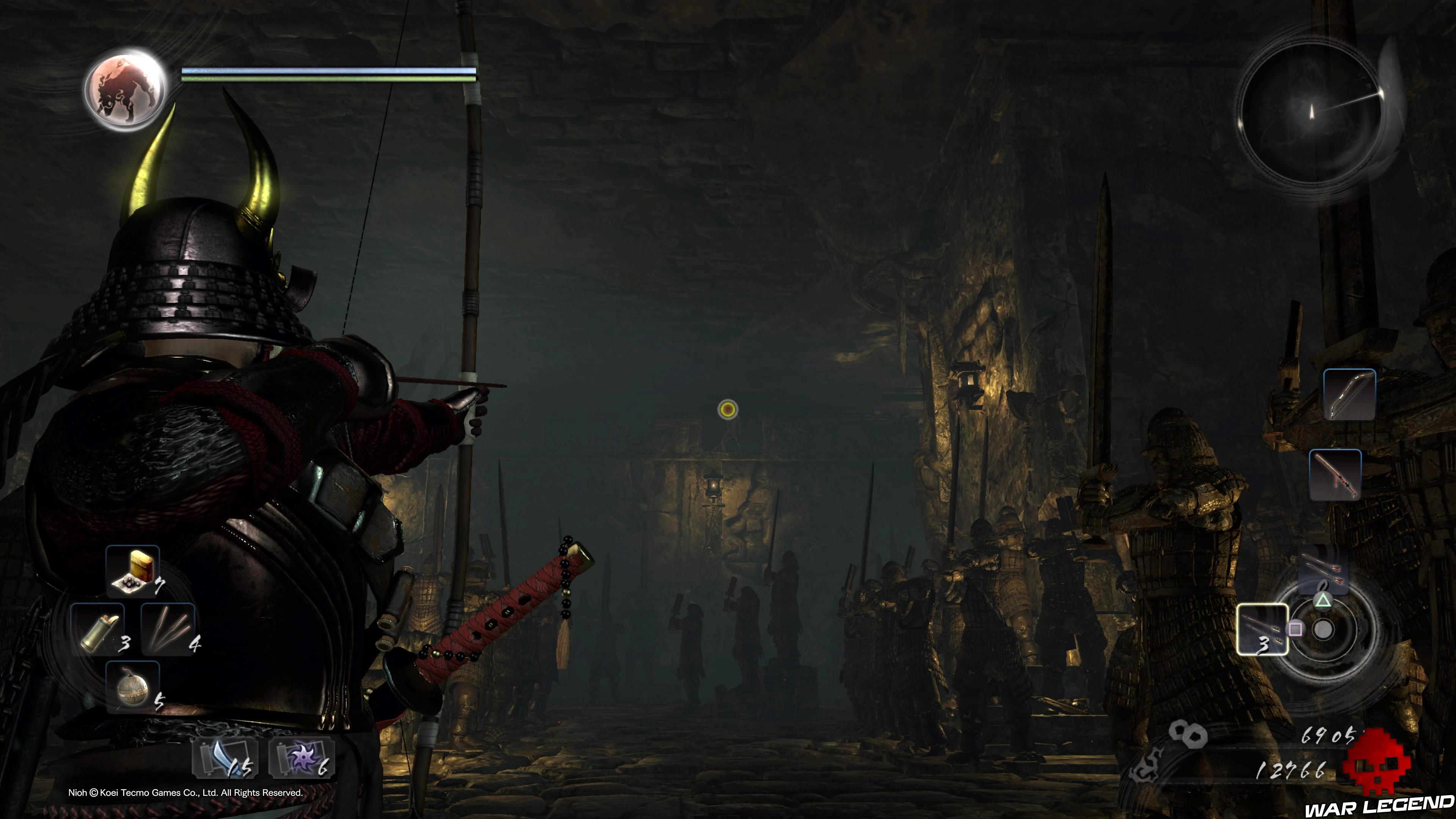 Soluce Nioh - Là où repose la pierre d'esprit tir à l'arc sur mort-vivant en hauteur