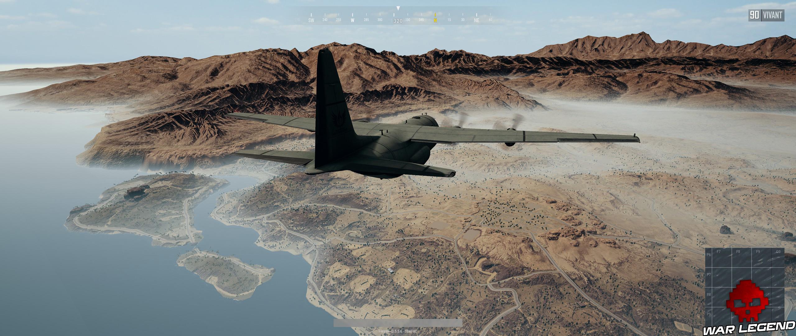 Avions survolant la carte de Miramar PUBG
