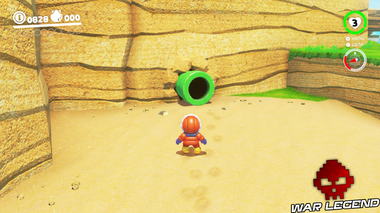 mario devant tuyau vert jaillissant d'une falaise