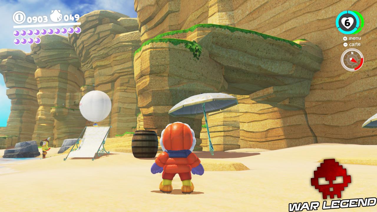 Mario regardant un parasole, une barrique et un transat