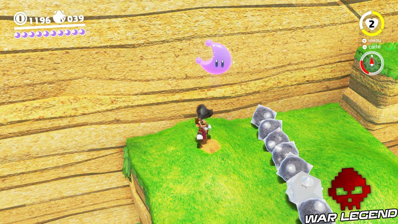 mario en pirate avec lune rose et boules à piques à proximité