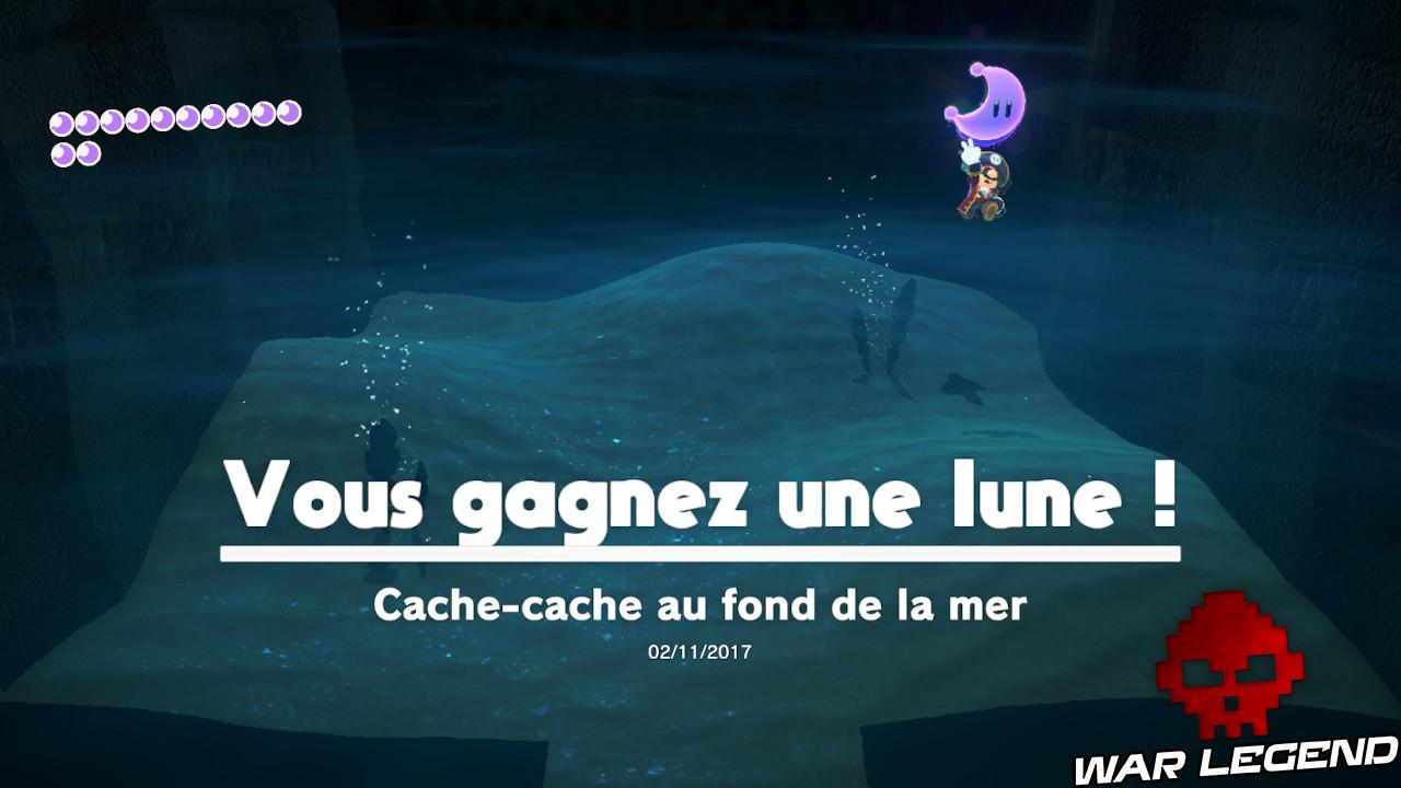 Message indiquant qu'une lune a été gagnée, lune rose à l'écran avec Mario