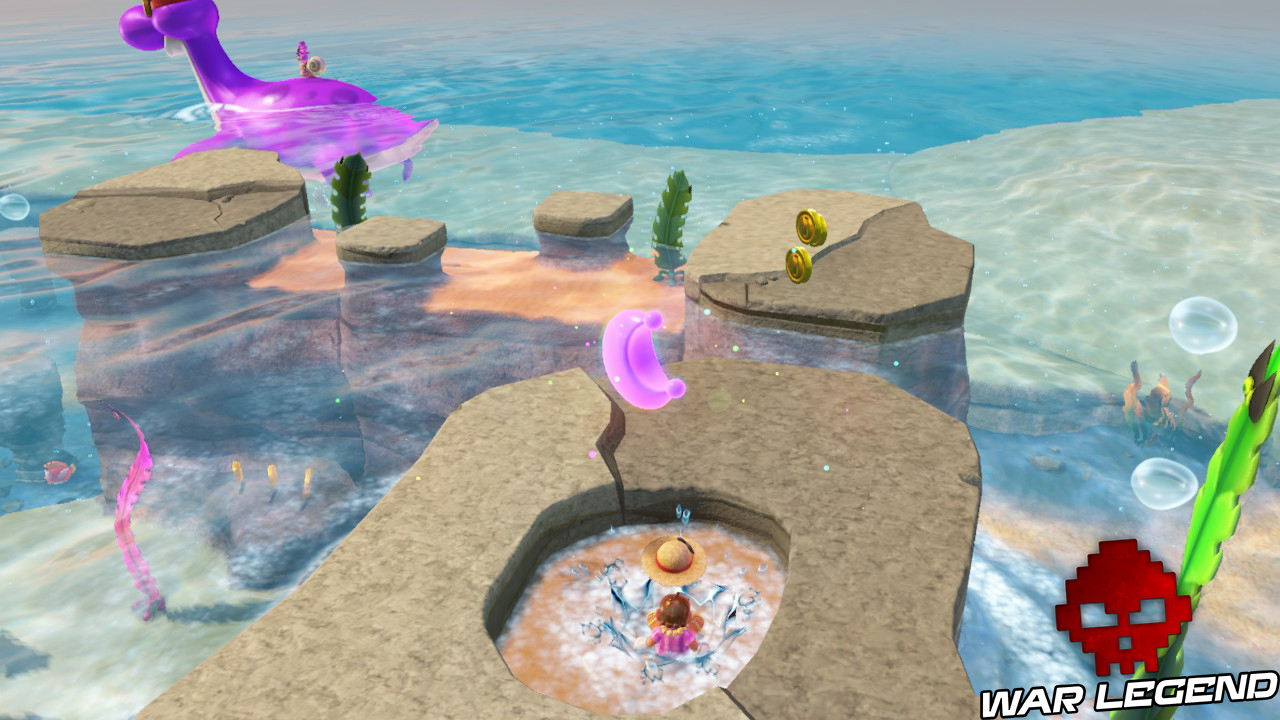 Mario s'écrasant dans une petite mare, ce qui génère l'apparition d'une lune rose