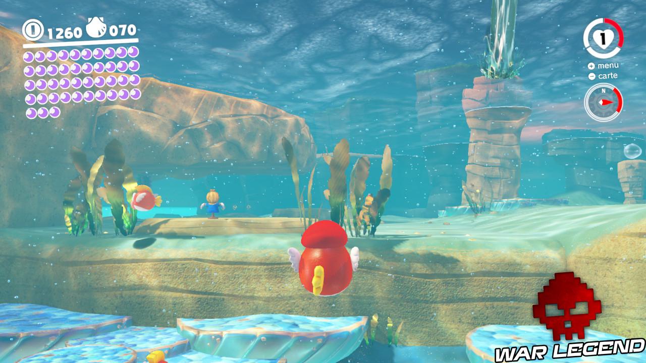 poisson rouge avec épouvantail bleu au loin
