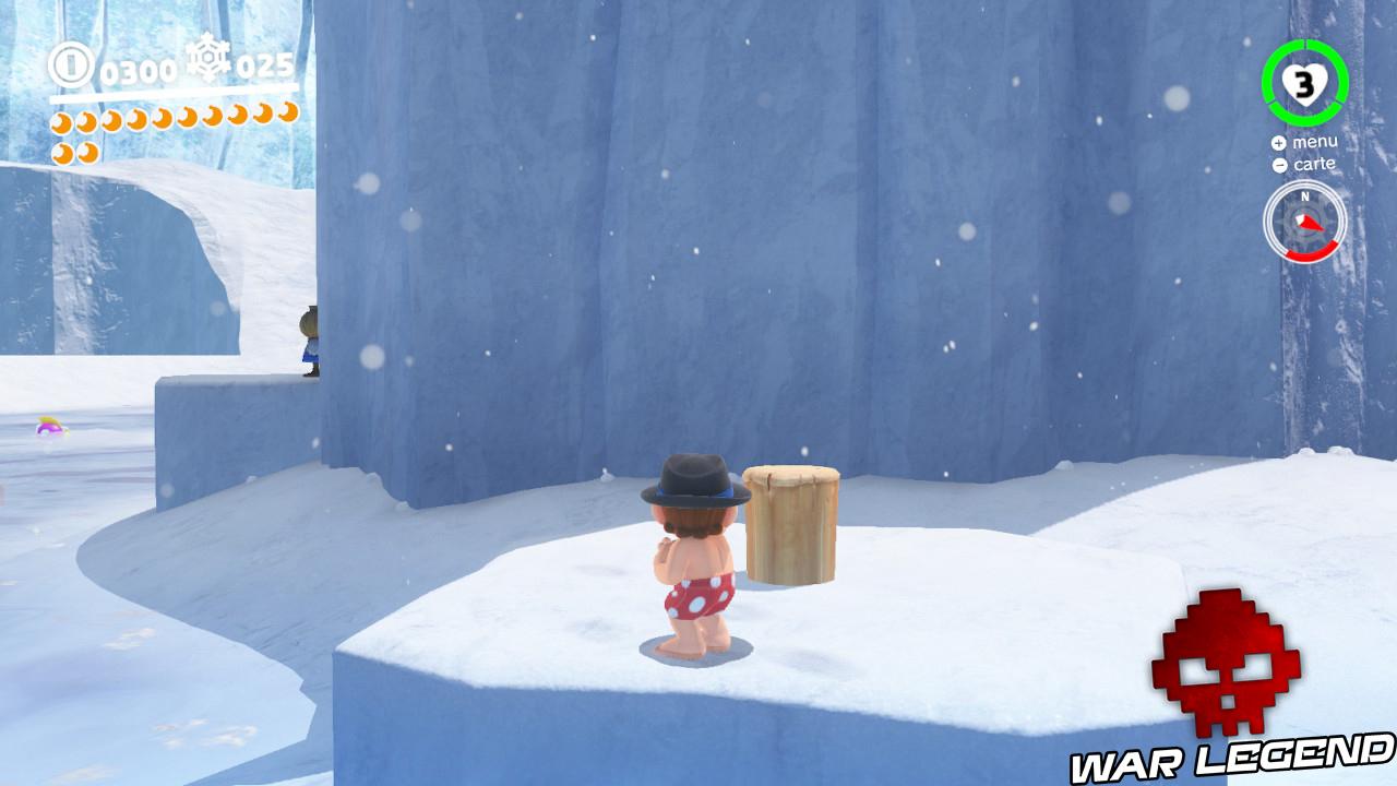 pieu en bois planté dans le sol neigeux, épouvantail caché un peu plus loin