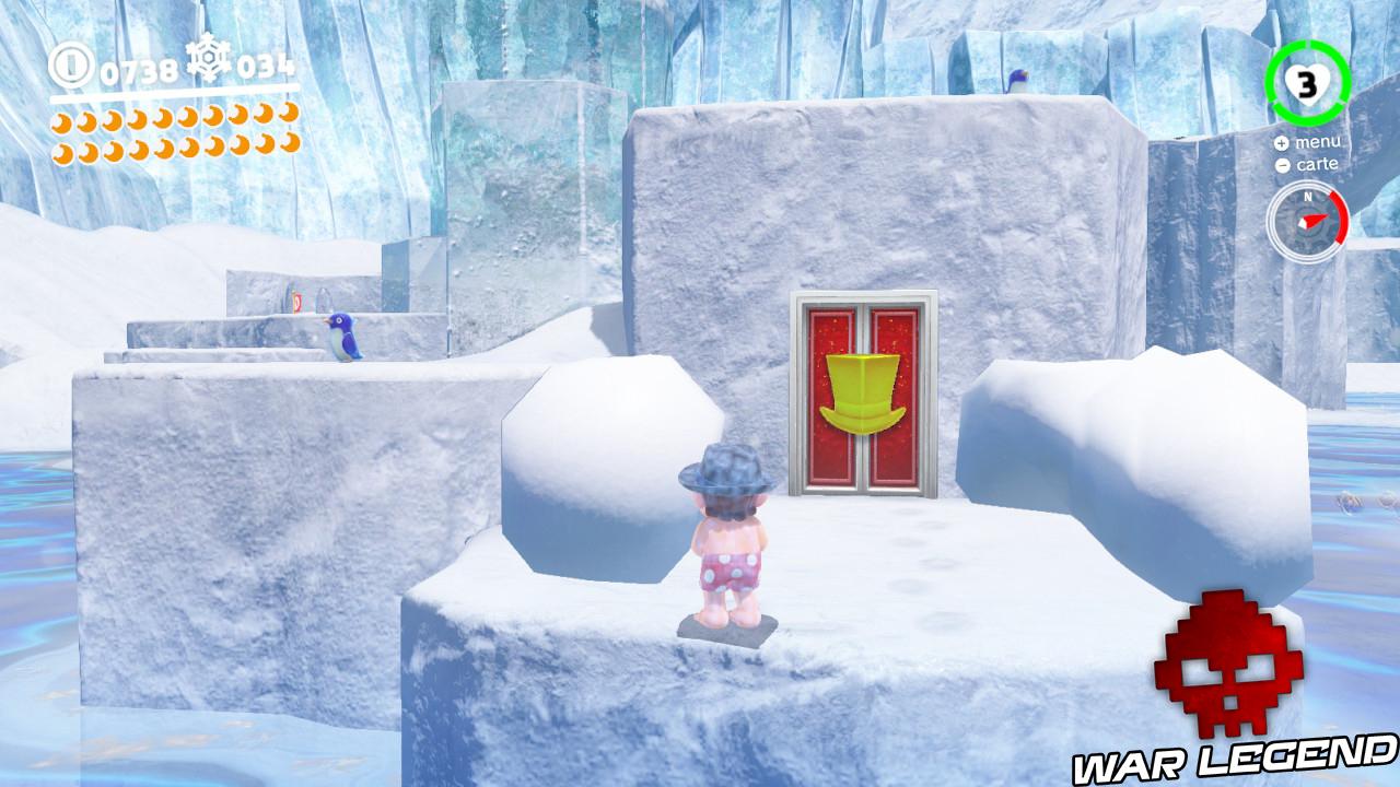 mario frigorifié - peau bleutée - devant une porte rouge avec dessin de chapeau doré