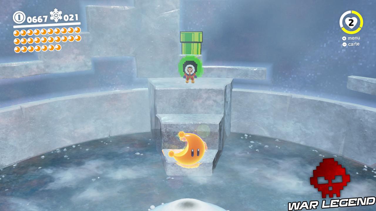 Mario s'extrayant d'un tuyau vert pour aller récupérer une lune