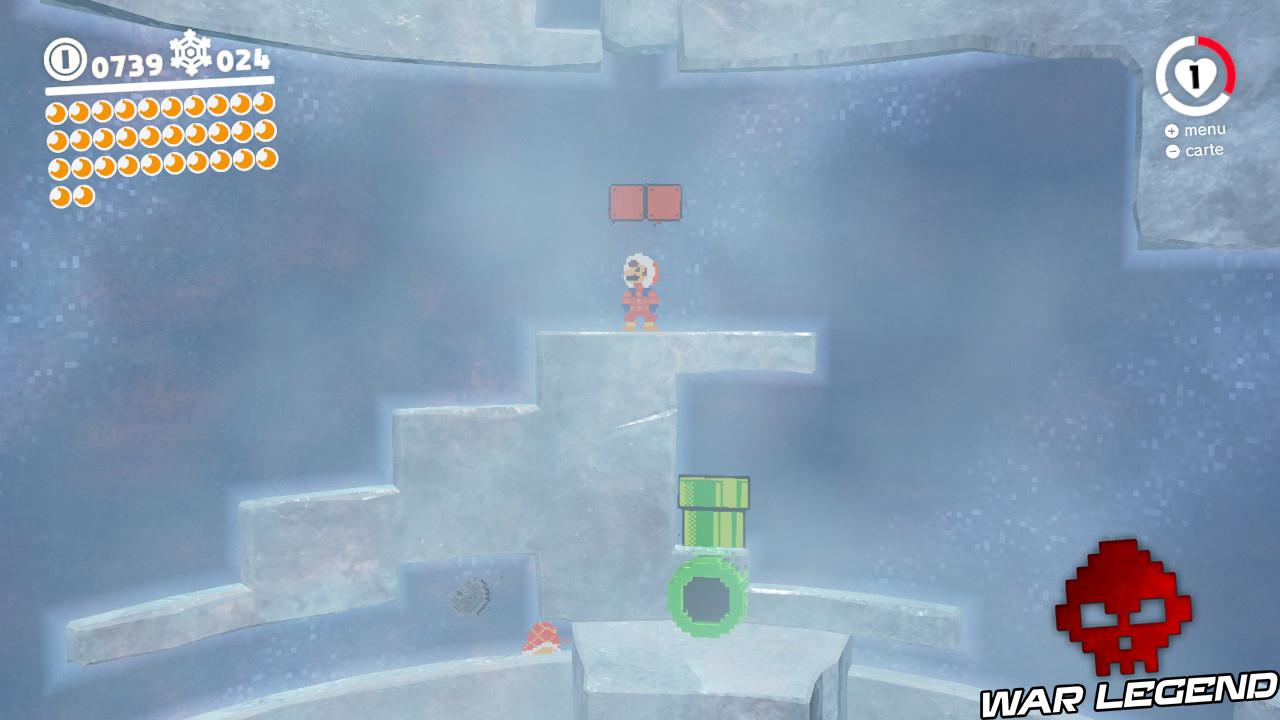 Mario old school se tenant sous deux cubes marrons