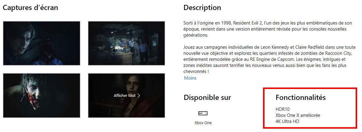 Photo description Resident Evil 2 Remake page microsoft