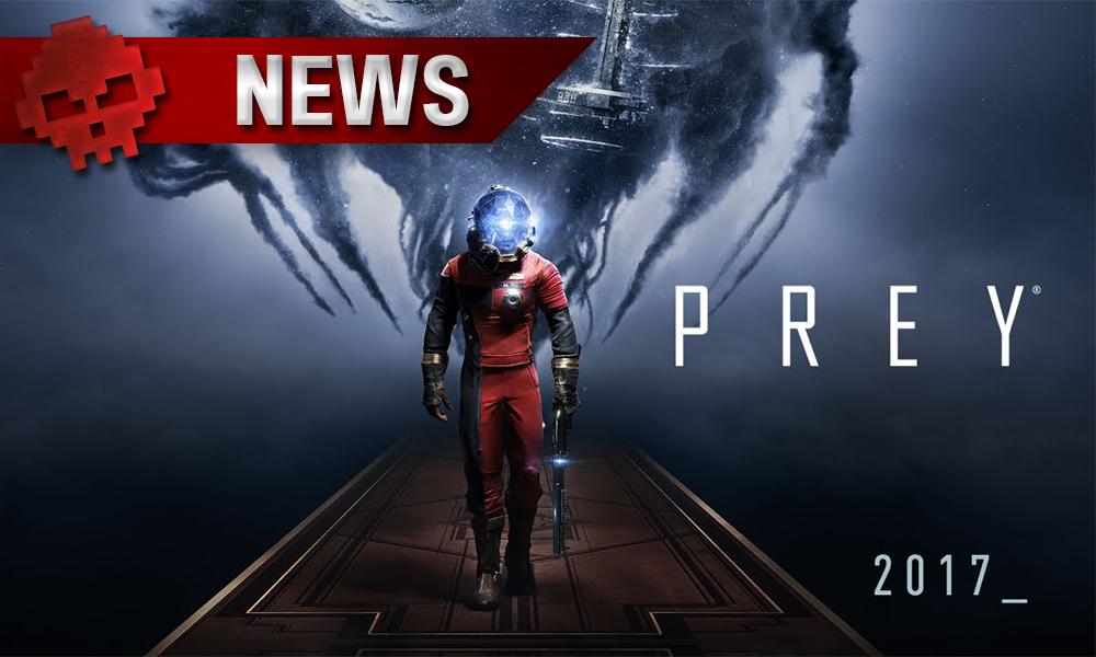 Prey - Sortie homme en combinaison, dos à une entité extraterrestre