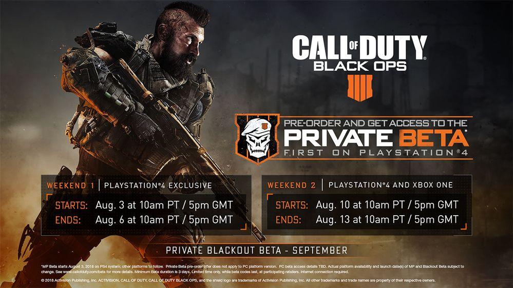 Programme bêta Call of Duty Black Ops 4