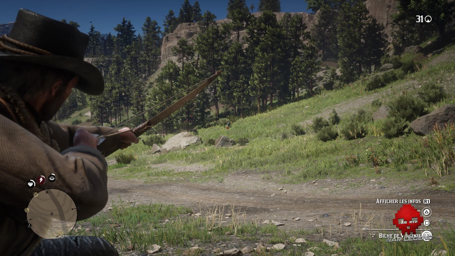 guide red dead redemption 2 guide de la chasse - Arthur tirant à l'arc