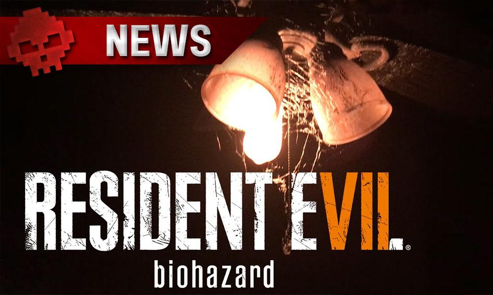 Resident Evil 7 - La démo sur PC est désormais disponible - lampes avec toiles d'araignée en arrière-plan et titre du jeu