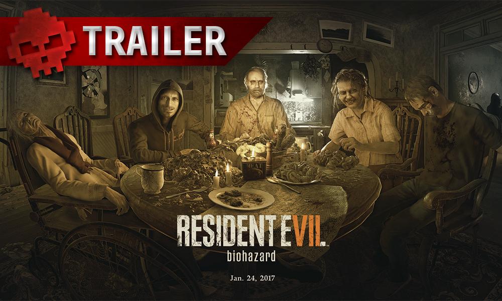 """Resident Evil 7 - Un trailer de lancement pour le DLC """"Séquence Interdite"""" Logo Resident Evil 7 et famille baker"""