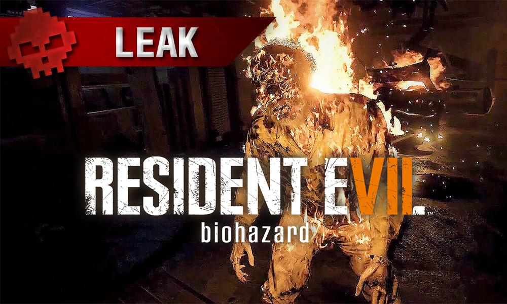 Resident Evil 7 - Une fuite massive zombie enflammé avec logo du jeu