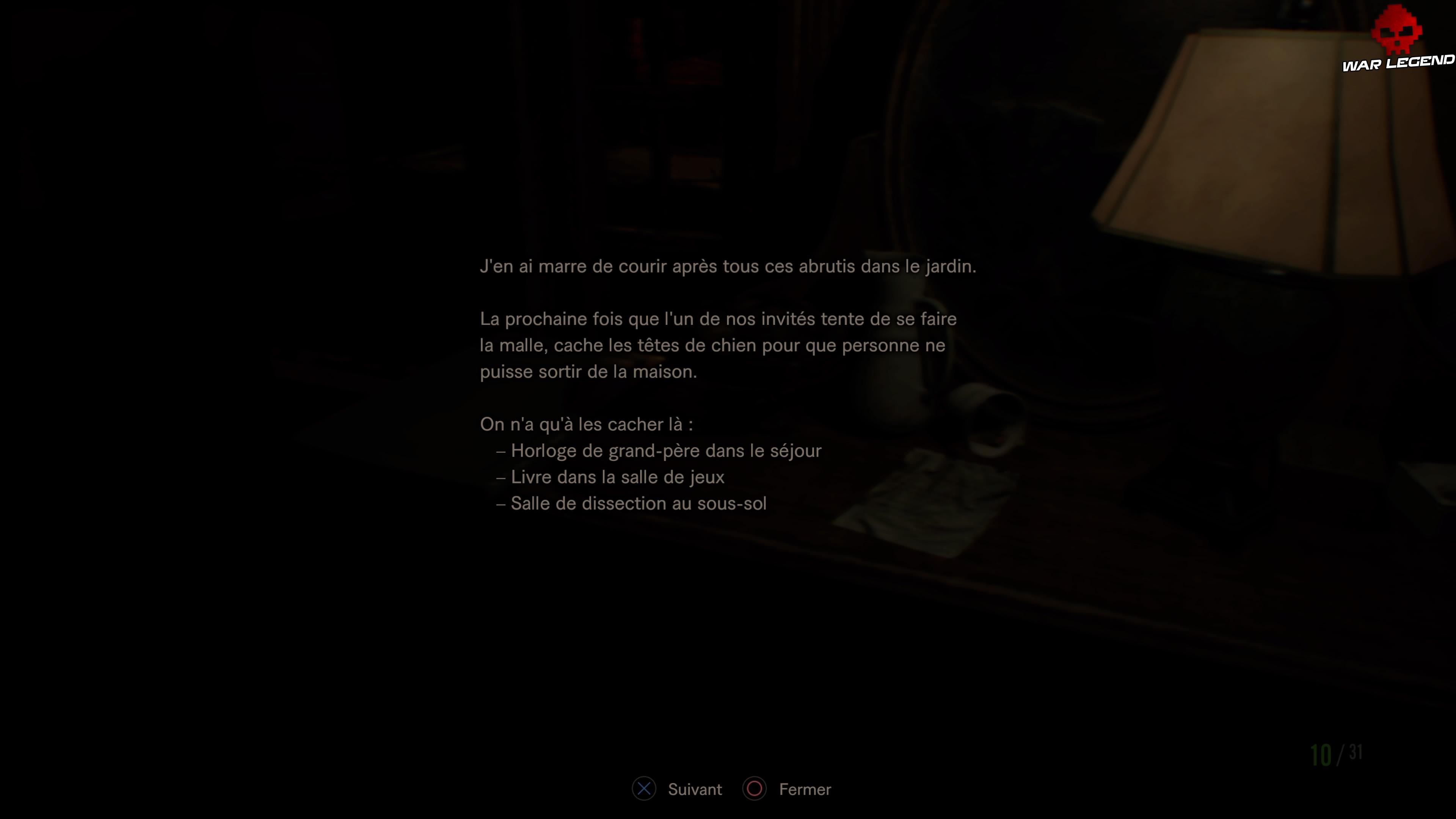 Solution Resident Evil 7 Biohazard - Chapitre 3 note sur les têtes de chien