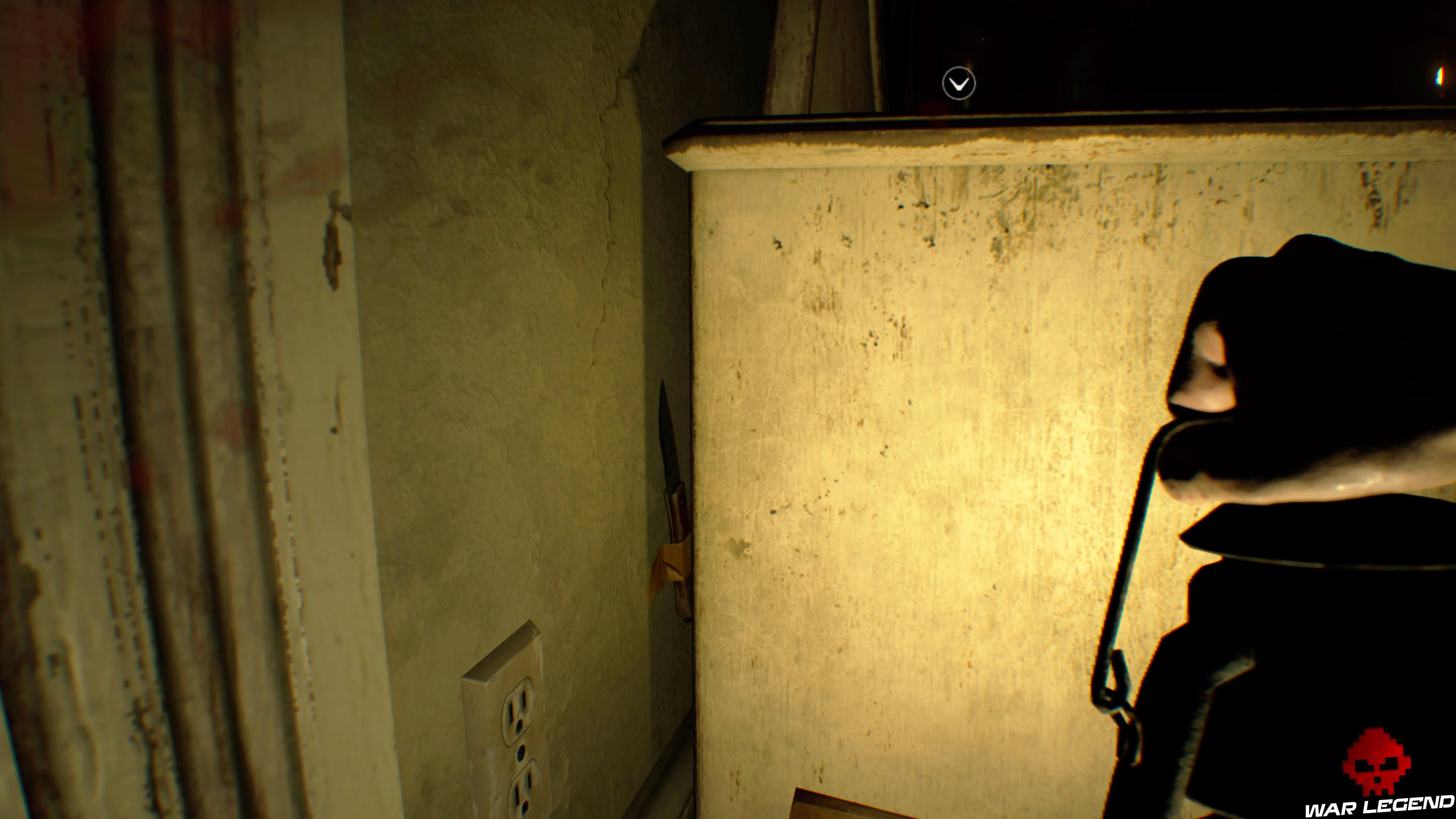 Solution Resident Evil 7 Biohazard - La chambre couteau scotché au mur