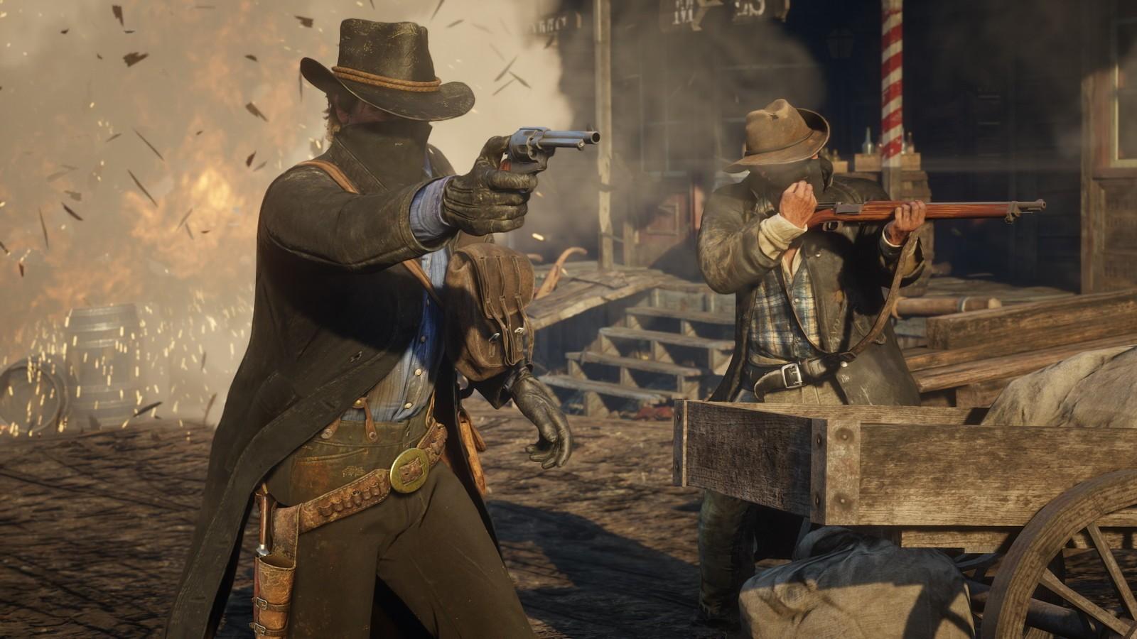 Cowboys pendant une fusillade