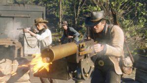 Red Dead Redemption 2 screenshot Morgan tire à la mitrailleuse aidé par ses alliés