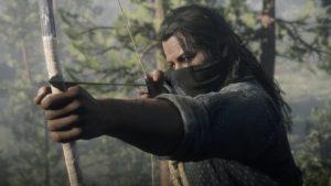 Red Dead Redemption 2 screenshot homme au visage couvert bande son arc