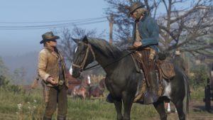 Red Dead Redemption 2 screenshot morgan discute avec un cavalier