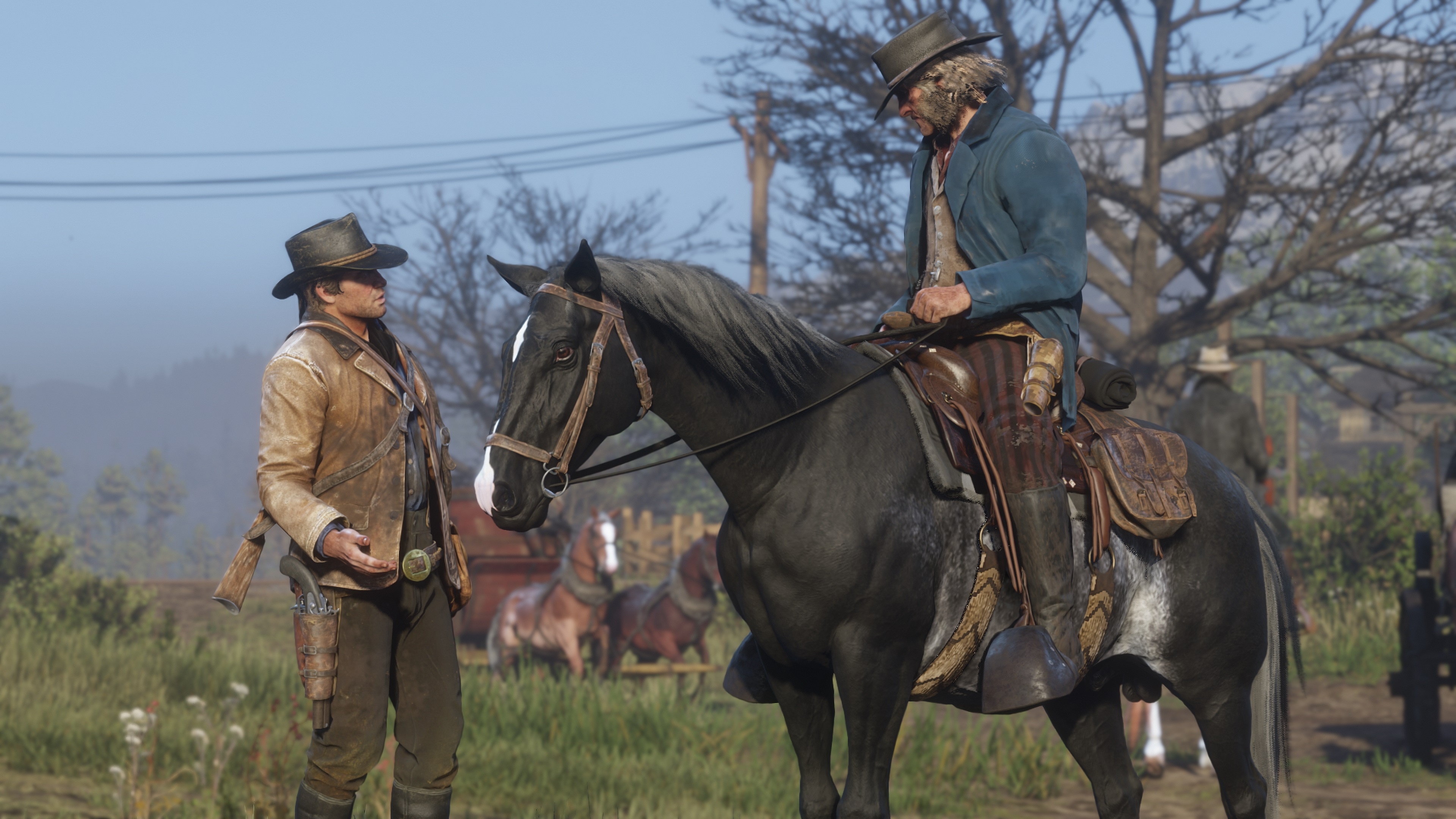Red Dead Redemption 2 screenshot morgan discute avec un cavalier