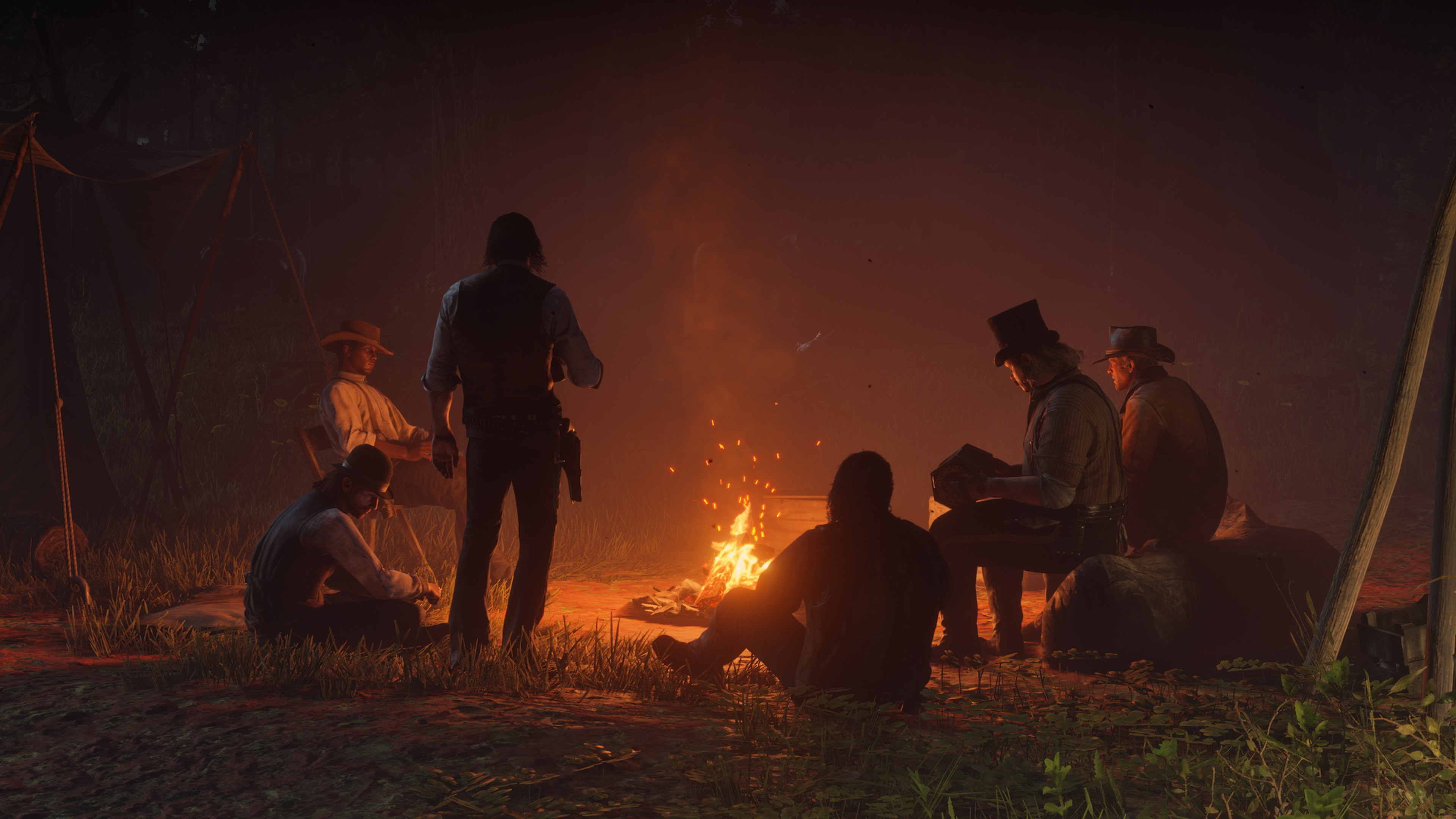 Red Dead Redemption 2 screenshot bandits au coin du feu