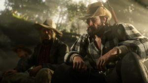 Red Dead Redemption 2 screenshot deux cow-boys assis