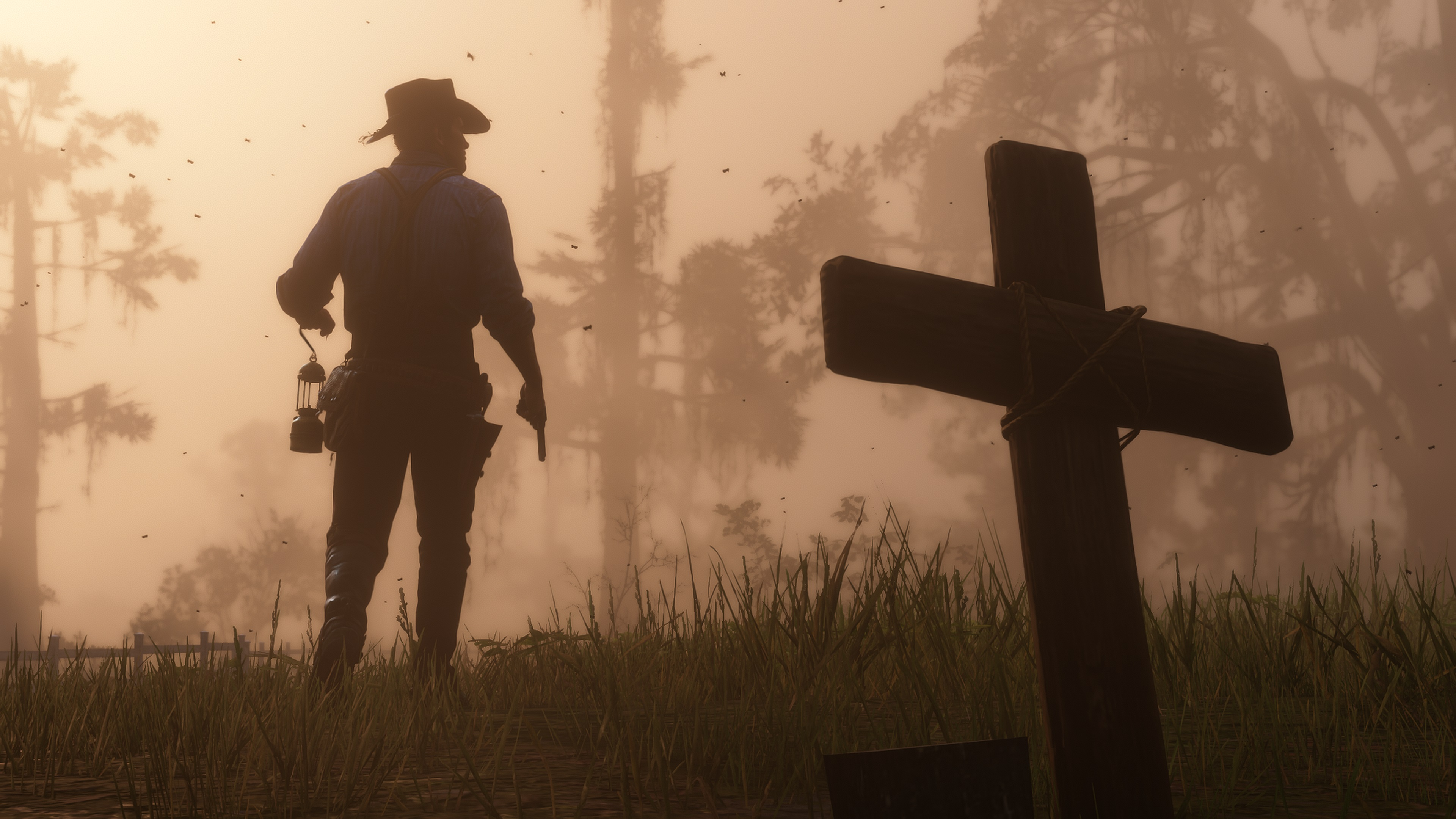 Red Dead Redemption 2 screenshot tombe et silhouette devant
