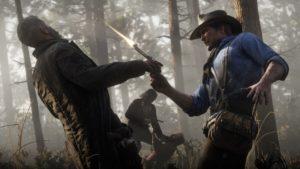 Red Dead Redemption 2 screenshot morgan tire en direction de la tête d'un adversaire