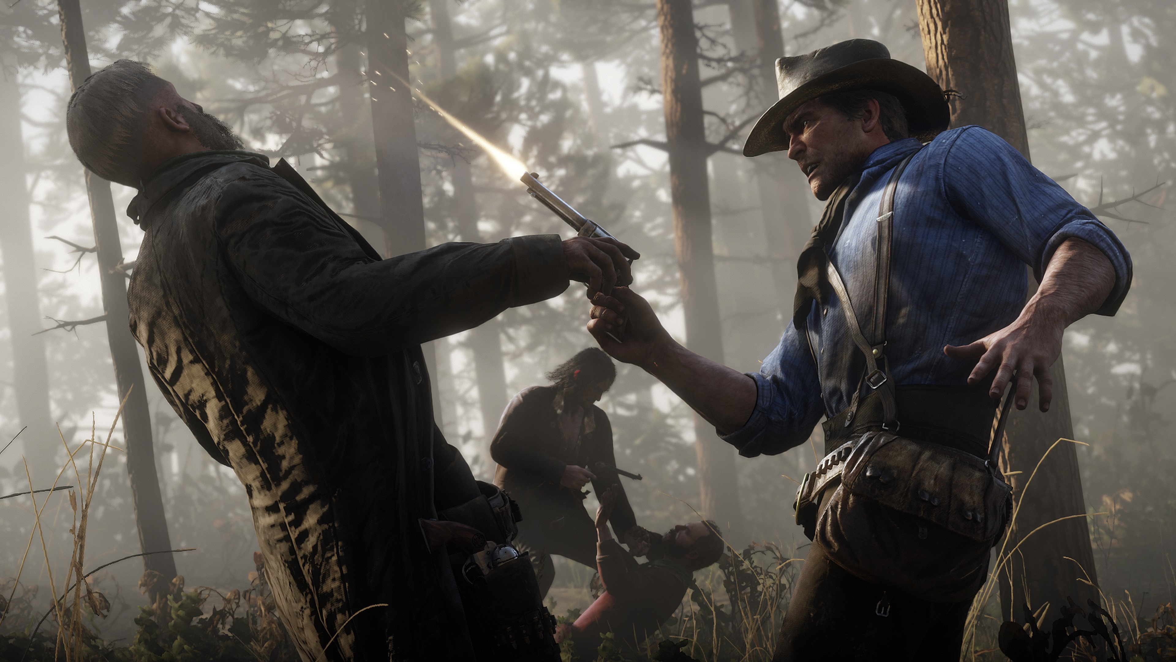 Red Dead Redemption 2 screenshot morgan tire en direction de la tête d'un adversaire