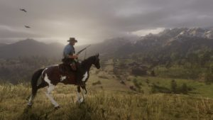 Red Dead Redemption 2 screenshot cavalier devant plaines vertes