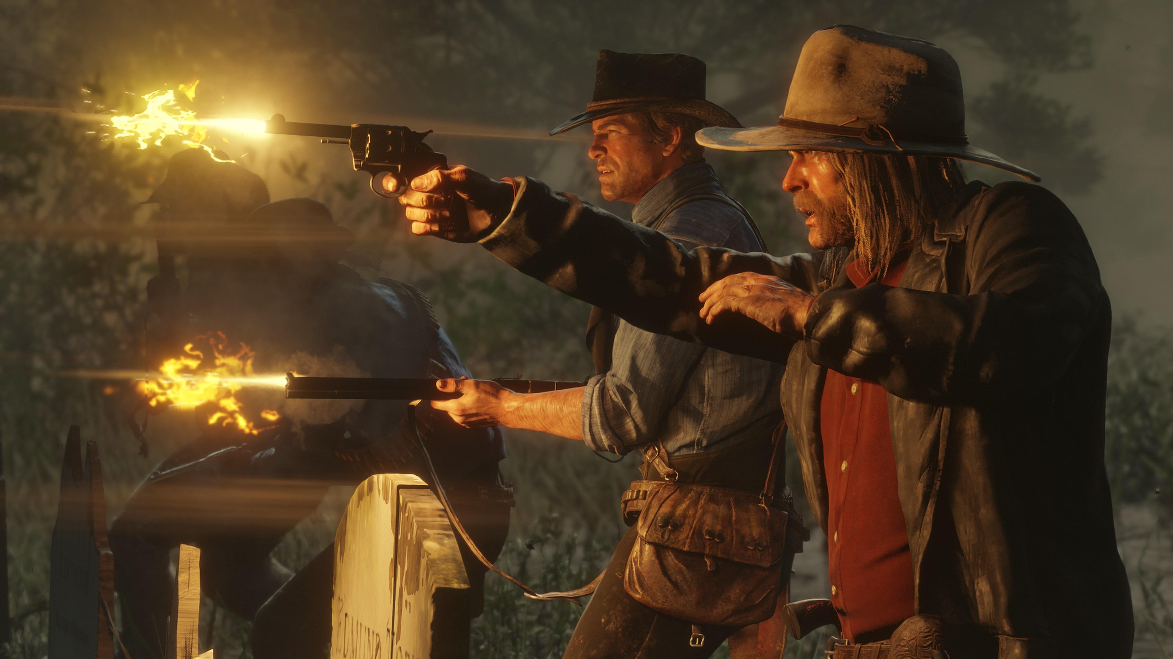 Red Dead Redemption 2 screenshot morgan et un allié faisant feu de profil