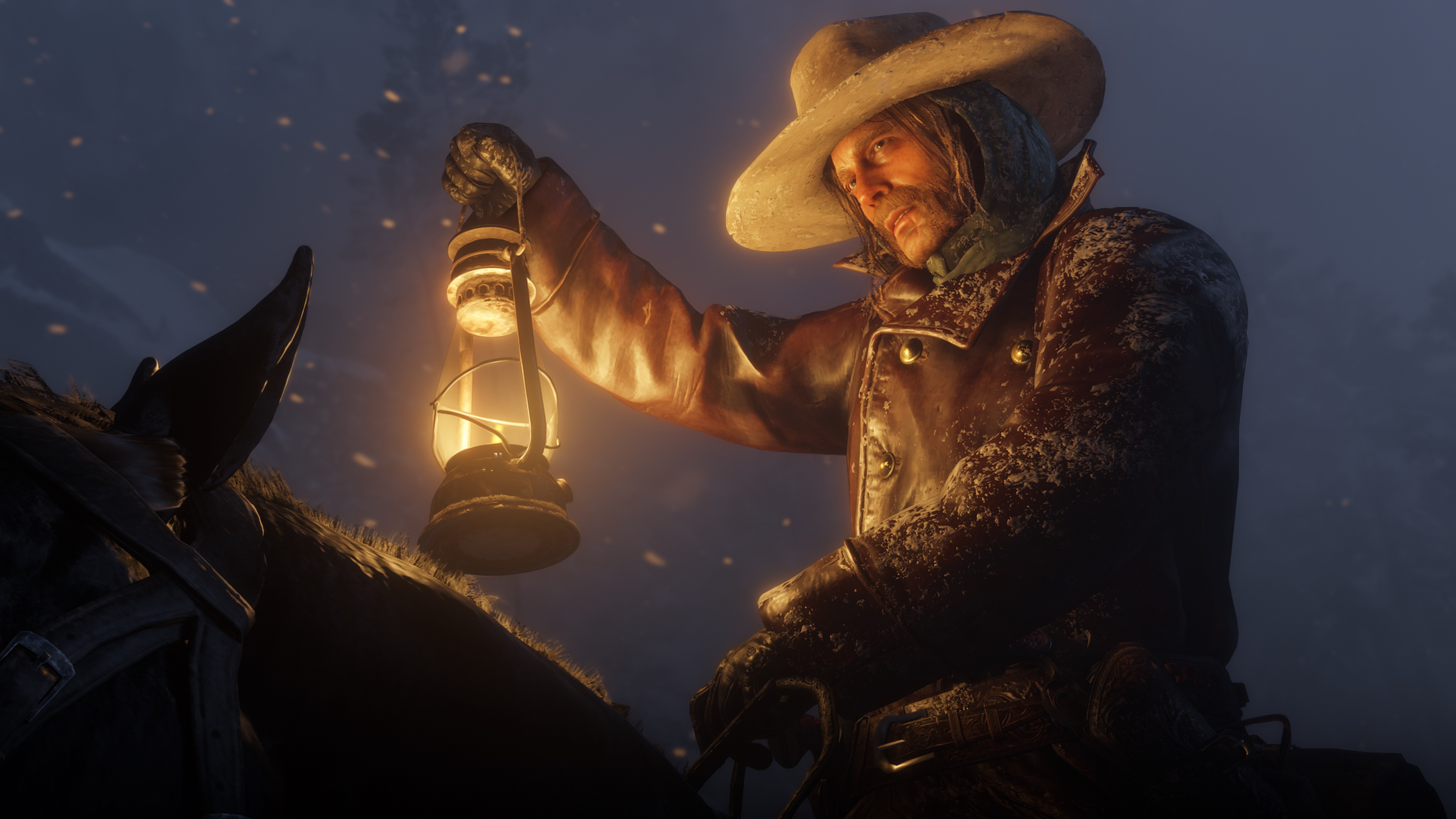 Red Dead Redemption 2 screenshot morgan éclaire son chemin à la lanterne