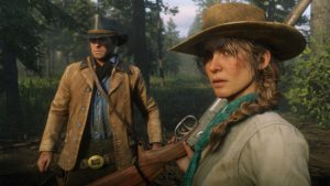 Red Dead Redemption 2 screenshot morgan accompagné d'une femme