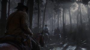Red Dead Redemption 2 screenshot balade à cheval au clair de lune en forêt